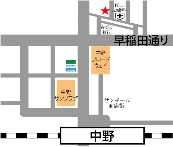 中野駅のダンススタジオの地図